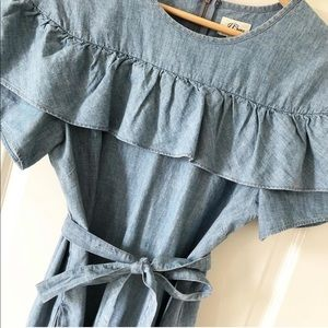 J.crew chambray ruffle dress size 8